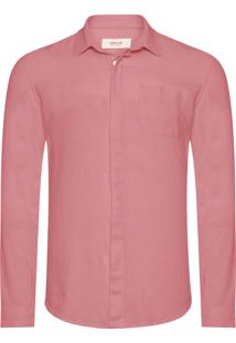 Camisa Masculina Linen Weave - Rosa