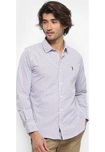 Camisa Aleatory Slim Fit Masculina - Masculino-Branco+Vinho