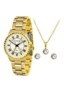 Kit De Relógio Analógico Lince Feminino + Brinco + Colar - Lrg4561L Kk05C3Kx Dourado