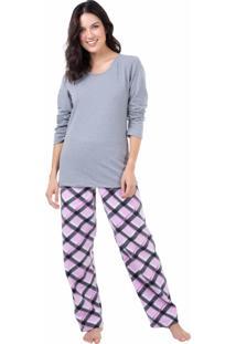 Pijama Longo Moletinho Homewear Mescla - 589.078 Marcyn Lingerie Pijamas Multicolorido