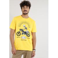 Camiseta Masculina Caveira Com Motocicleta Manga Curta Gola Careca Amarela bf6c1f2f9f9