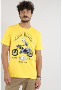 Camiseta Masculina Caveira Com Motocicleta Manga Curta Gola Careca Amarela