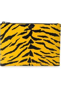 Saint Laurent Clutch Com Estampa De Zebra - Amarelo