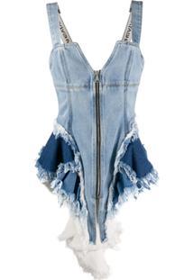Natasha Zinko Blusa Jeans Com Corset - Azul