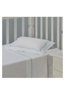 Jogo De Lençol Infantil Plumasul Premium Peace Baby 3 Pçs Bordado Azul