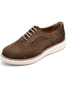 Sapato Oxford Q&A 300 Couro Camurça Rato - Kanui