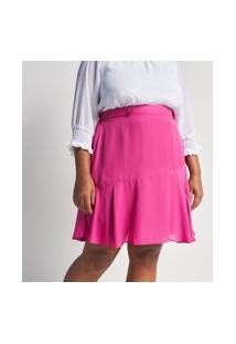 Saia Em Crepe Com Martingale E Botões Forrados Curve E Plus Size Rosa