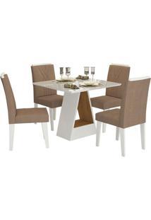 Sala De Jantar Alana 95 Cm Com 4 Cadeiras Savana/Branco Pluma