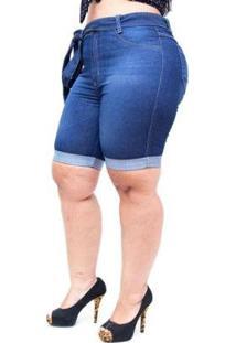 Bermuda Jeans Cambos Plus Size Jocia Feminina - Feminino-Azul
