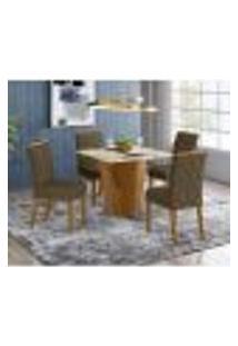 Mesa De Jantar Vértice 90Cm 4 Cadeiras Vita - Nature/Off White/Marrom Claro