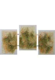 Quadro Artesanal Com Textura Rosas Colorido Uniart