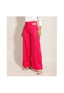 Calça Pantalona De Linho Cut Out Cintura Super Alta Pink