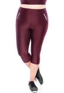 Calças Casuais Mulher Elastica Plus Size Micro Refletc - Bordô Escuro - Ps Bordô - Tricae