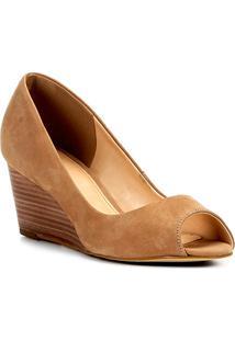 Peep Toe Couro Shoestock Anabela Básico Fachete - Feminino-Marrom Claro