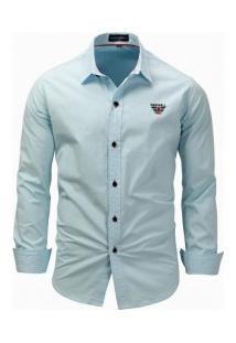 Camisa Masculina Casual Manga Longa - Azul Claro