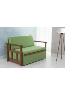 Sofá Cama Compacto Para Casal Akro - Sofá Bicama Estofado Verniz Castanho Tecido Verde - 128X90X85Cm