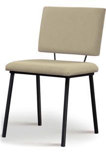 Cadeira Antonella Aço Preto Assento/Encosto Estofado Linho Bege Daf