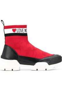 Love Moschino Bota Com Logo Contrastante - Vermelho