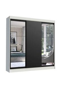 Guarda-Roupa Casal Madesa Istambul 3 Portas De Correr Com Espelhos 3 Gavetas Branco/Preto Branco