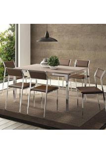 Mesa 1526 Nogueira Cromada Com 6 Cadeiras 1709 Cacau Carraro
