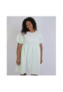 Vestido Feminino Plus Size Curto Manga Curta Bufante Verde Claro