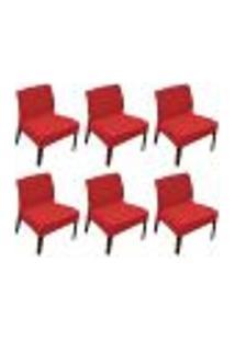 Kit 6 Capas De Cadeira Master Lisa Vermelha Sultan