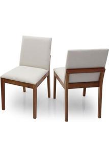 Cadeira De Jantar Ellus (Kit C/ 2 Peças) Ref 2220 - Castanho Claro Tec Bege Claro