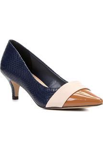 Scarpin Shoestock Salto Baixo Mix Texturas - Feminino-Marinho