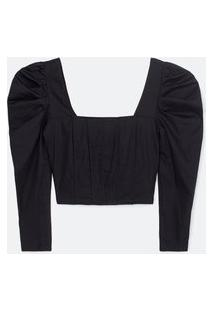 Blusa Cropped Com Decote Quadrado