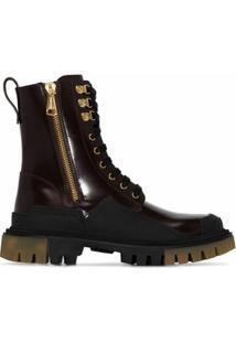 Dolce & Gabbana Bota Militar Com Solado Chunky - Marrom