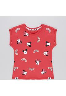 Blusa Infantil Minnie E Mickey Manga Curta Decote Redondo Vermelha
