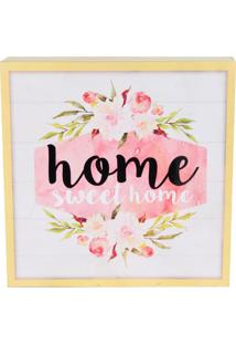 "Quadro Decorativo ""Home Sweet Home""- Branco & Amarelo Clurban"