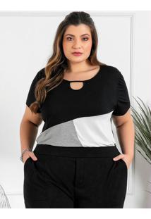 Blusa Plus Size Preta Com Recortes Contrastantes