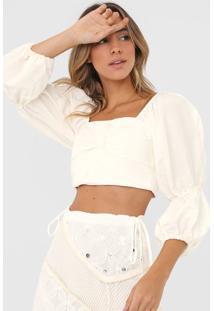 Blusa Linho Open Style Cropped Folhagem Off-White