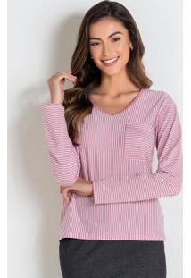 Blusa Listrada Rosa Com Bolso Moda Evangélica