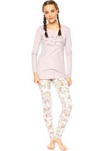 Pijama Cor Com Amor Escritas Floral Rosa/Branco