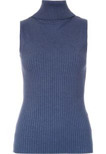 Fillity Blusa De Tricô Gola Alta - Azul