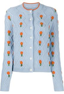 Shrimps Bennett Floral Embroidered Cardigan - Azul