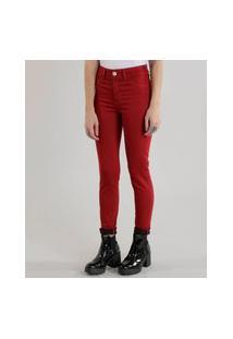 Calça Skinny Energy Jeans Em Algodão + Sustentável Vermelha