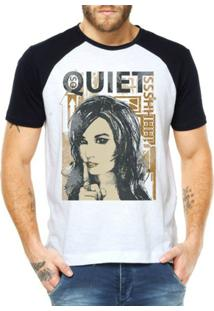 Camiseta Criativa Urbana Raglan Frases Quiet - Masculino-Branco