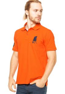 Camisa Polo Manga Curta Polo Club Logo Laranja