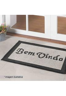 "Tapete ""Bem Vindo""- Off White & Preto- 60X40Cm- Oasis"