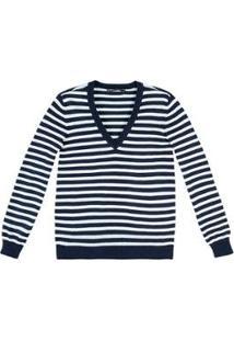 Blusa Tricô Hering Básico Listrado Feminina - Feminino-Azul+Branco