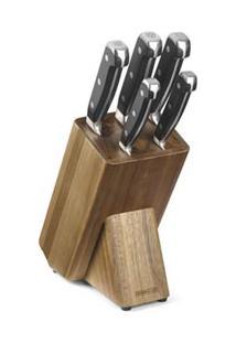 Conjunto De Facas Com Cepo Chef Kitchen 06 Peças Em Aço Inox - Mundial