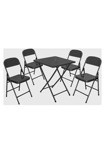 Conjunto Mesa C/ 4 Cadeiras Dobráveis Craquelado Açomix