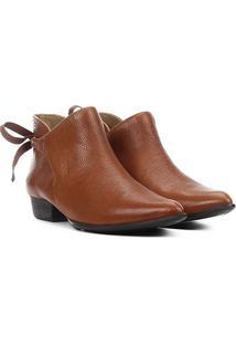 Ankle Boot Couro Dumond Cano Curto Flat Feminina - Feminino-Caramelo