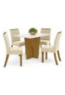 Sala De Jantar Mesa Retangular Vértice 120Cm Com 4 Cadeiras Vita Nature/Off White/Linho - Henn