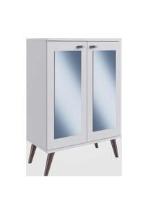 Sapateira Retrô Com Espelho, 2 Portas E 3 Prateleiras Branco Completa Móveis