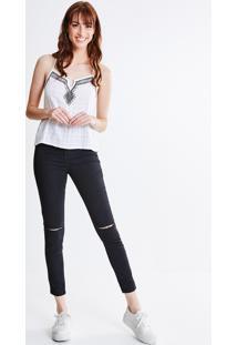 Calça Skinny Em Sarja Navalhada