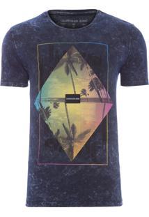 Camiseta Masculina Estampa Triangulo Colorido - Azul